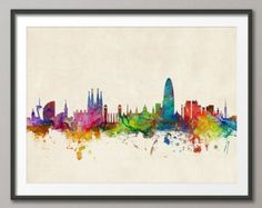 Barcelona Skyline, Barcelona Spain Cityscape Art Print (979)