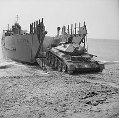Apr British Army Crusader I tank emerges from a tank landing craft (TLC while testing portable roadway Royal Navy, Us Navy, Crusader Tank, Dieppe Raid, Ww2 Pictures, Ww2 Photos, Landing Craft, Armored Fighting Vehicle, Ww2 Tanks