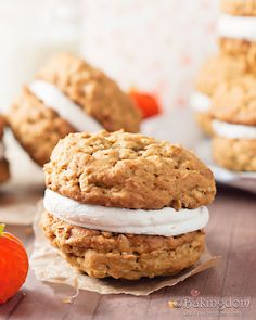 Pumpkin-Oatmeal Cream Pies- the whole thing looks yummy, but the cookies themselves are what intrigue me