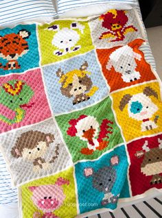 """This Zoodiacs Afghan is a collection of corner to corner crochet squares depicting the 12 animals in the Chinese Zodiac. Each square is about 18 inches big, so the afghan is quite large, around 5ft by 7ft. It requires several colors of yarn, and the link includes a list of recommended supplies/colors, video tutorials, instructions, and of course, the 12 animal graphs. I've also included a quick corner to corner tutorial for those who want to learn this fun technique!"""