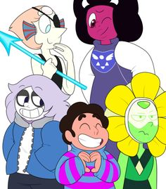 happy halloween!!!steven universe and undertale are my two favorite things right now, so drawing the gems dressed as undertale characters was really the only way to go