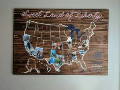 Vinyl map.....states filled in with picture collage from the trip...