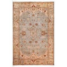 @Overstock - This beautiful iridescent hand-knotted wool rug has an Old World feel in its muted blue and peach tones. It features both florals and tribal shapes with fringed ends. This oriental rugs regal feel would be an elegant addition to your home.http://www.overstock.com/Home-Garden/Hand-knotted-Blue-Fantasia-Semi-Worsted-New-Zealand-Wool-Rug-56-x-86/6562789/product.html?CID=214117 $1,139.99
