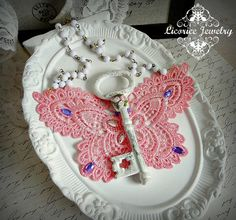 SHabby Pink Lace Antique Style Key Statement NEcklace by LicoriceJewelry,