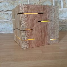 Solid Wood Cube Light Table Lamp Desk Lamp by Uniquelightingco