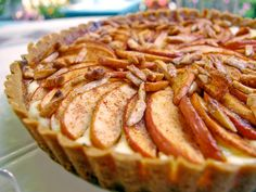 Easy Pastry Shop Apple Tart - Laura Calder's simple rustic tart calls for cinnamon-kissed apple slices to be layered atop a cream cheese and vanilla filling, letting the flavor of the crisp fall fruit shine through.