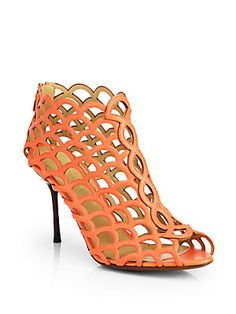 Sergio Rossi Mermaid Cutout Leather Ankle Boots