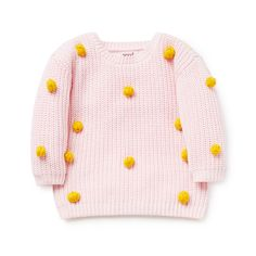 100% Cotton. Long sleeve jumper. Features all-over pom poms. Regular fitting silhouette. Available in Ice Pink.