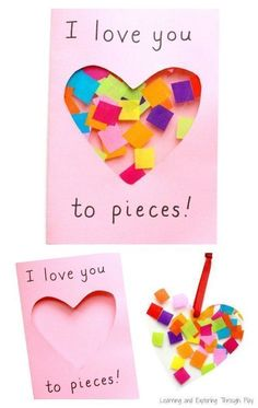 A super cute I Love you to Pieces suncatcher card to make for Valentines Day or Mothers Day. fathers day stuff, hammer fathers day gift, mothers day gift super cute I Love you to Pieces suncatcher card to make for Valentines Day or Mothers Day. Valentine's Day Crafts For Kids, Valentine Crafts For Kids, Fathers Day Crafts, Toddler Crafts, Preschool Crafts, Grandparents Day Crafts, Daddy Valentine, Valentine Ideas, Baby Crafts