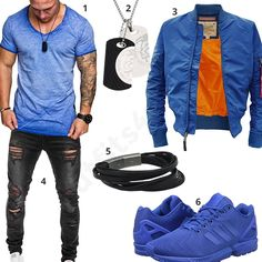 Blaues Herren-Outfit mit Alpha Industries Jacke (m0455) #outfit #style #fashion #menswear #mensfashion #inspiration #shirt #cloth #clothing #männermode #herrenmode #shirt #mode #styling #sneaker #menstyle