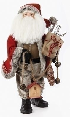 Roman 20 Traditional Woodland Santa Claus Christmas Figure with Birdhouse and Gifts, Red Western Christmas, Merry Christmas, White Christmas Ornaments, Cabin Christmas, Woodland Christmas, Christmas Figurines, Christmas Central, Father Christmas, Country Christmas