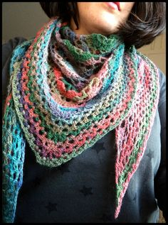 Oups I did it again! Shawl dentelle au crochet lang mille colori baby Cam&Drey bricolent...