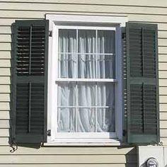 False Window with Louvered Shutters - Slide Bolt and Faux Tilt Rods ...
