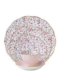 Royal Albert China Rose Confetti, Vintage Formal 5 Pc Place Setting #RoyalAlbert