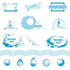 水のテーマのロゴベクトルグラフィック素材