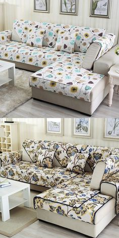 White Simple Style Home Decorative Non Slip Cushion Washable Sofa Covers Diy Sofa Cover, Couch Covers, Washable Sofa Covers, Outdoor Furniture Covers, Best Sofa, Slipcovers, Cover Design, Cushions, Simple Style