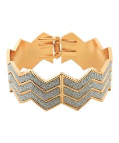 Gifts for Fashionistas: Gold & Silver Zigzag Bangle