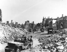 View of the town of Valognes devastated by Allied bombing during the Cherbourg battle 24 June 1944.