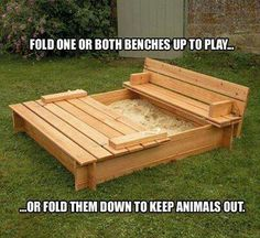 Cool sandbox with benches that will cover it up to keep animals out....nice....♡♥♡