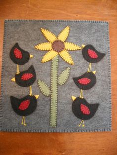 Primitive Penny Rug Candle Mat  Blackbirds in the by Rocknrobin, $18.00