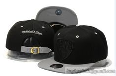 NBA Brooklyn Nets Mitchell & Ness Strapback Hats Black Gray|only US$6.00 - follow me to pick up couopons.