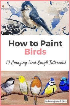 How to Paint Birds Step by Step the easy way. Learn How to Paint a Bird with the Best 10 Online Video Tutorials with Acrylic, Digital and many more techniques! How to Paint Birds in the Sky, How to Paint Birds Sitting Still, How to Paint Bird Houses, and more! How to Paint Birds. Painting Tutorial for Beginners! Watercolor Paintings For Beginners, Watercolor Art Lessons, Canvas Painting Tutorials, Painting Lessons, Watercolor Techniques, Watercolor Projects, Painting Tips, Bird Painting Acrylic, Simple Acrylic Paintings