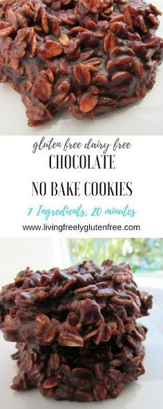 Simple but delicious gluten free and dairy free no bake cookies. Made with peanut butter, coconut oil and gluten free oats. This no fail recipe is excellent for warmer days when you don't want to turn on the oven. www.livingfreelyglutenfree.com