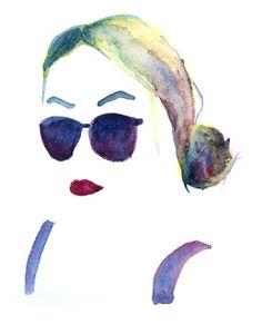 Watercolour portrait. negative space. Ashleigh Green