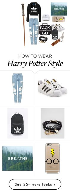 """""""Harry Potter with a twist. #packandgo"""" by hildaganslandt on Polyvore featuring Topshop, adidas Originals, ASOS and Casetify"""