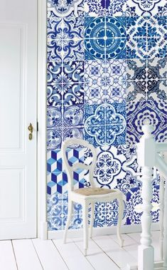 Azejulos Tile panel (158002) - Esta Home Wallpapers - A photomural wallcovering with images of original Portugese Azejulos blue tiles. Supplied on a roll one tile wide, so that you can cut and put them together to make your very own individual tile effect. Paste the wall. Overall size given below.