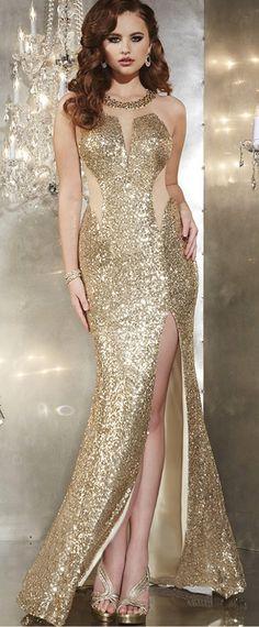 Elegant Tulle & Sequins Lace Jewel Neckline Mermaid Evening Dresses with Beadings & Rhinestones