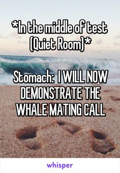 *In the middle of test  (Quiet Room)*  Stomach:  I WILL NOW DEMONSTRATE THE WHALE MATING CALL