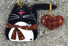 Tole Painted Wood Christmas Cat Ornament