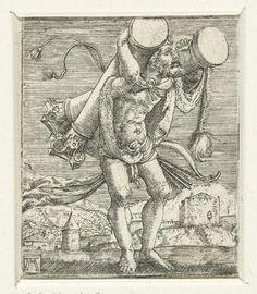 Albrecht Altdorfer | Hercules draagt de zuilen, Albrecht Altdorfer, c. 1506 - 1538 | Hercules, lopend met over elke schouder een grote zuil.