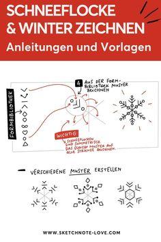 Brauchst du ein paar Vorlagen um den Winter zu zeichnen? Starte deine Übungen doch mit Schneeflocken; diese zu zeichnen gar nicht so schwierig, wenn man sich an ein einfaches Grundraster hält – ein einfaches Kreuz aus drei Linien. An den Enden des Kreuzes könnt ihr euch dann austoben –  ich zeige dir wie es geht. Sketchnotes Winter   Sketchnotes Schneeflocke   Sketchnotes Pictogramm   Sketchnotes Sketch Notes   Sketchnotes Symbole   Sketchnotes Schrift #NadineRoßa #sketchnotes-love