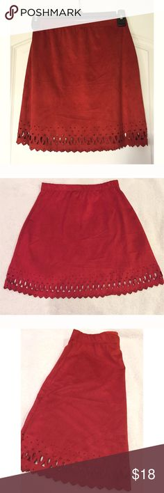 """NWT. Dark orange suede cutout skirt NWT. Dark orange suede cutout skirt. About 16"""" long. Elastic waistband. Size: S. Sorry, no trades. Like the item but not the price, feel free to make me a reasonable offer using the offer button below. Styles Skirts A-Line or Full"""