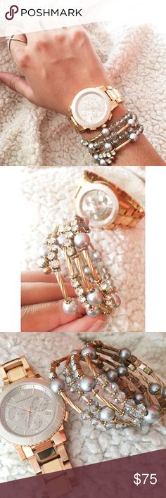 Jewelled Wrap Around Multi Bangle Purchased from Saks. Expandable wire. Rose gold, gold, crystal & faux pearl. Excellent condition, like when I purchased. Goes great stacked with other bracelets, especially Alex & Ani. *I personally style all pics* NO TRADE. Bundle & save even more✅ Saks Fifth Avenue Jewelry Bracelets