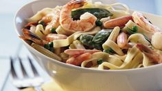 Treat your family to a creamy dinner with this pasta and vegetable dish - ready in 20 minutes.