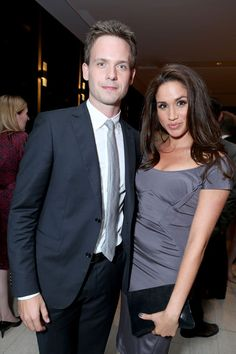Patrick J. Adams Meghan Markle Photos Photos - Actors Patrick J. Adams (L) and…