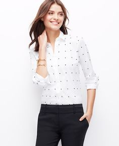 Ann Taylor White Navy Polka Dot Collared Shirt Blouse, a crisp button down with darling dots, perfect for the office layered under a suit.