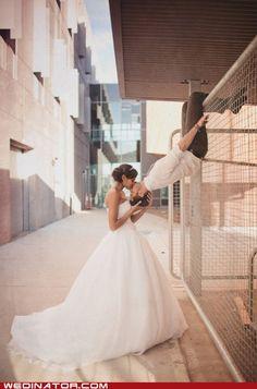 funny wedding photos - bride - groom - kiss - Playground Love... spiderman kiss?? haha <3PenyaDS