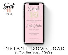 Text Invitation Sweet 16 Pink | Sweet Sixteen electronic invite | Glitter email or text invitation | Instant download 16th sms invitation Text Message Invitations, Sweet Text Messages, Electronic Invitations, Guy Best Friend, Edit Online, Sweet Texts, Cute Couple Quotes, Just Girly Things, Reasons To Smile
