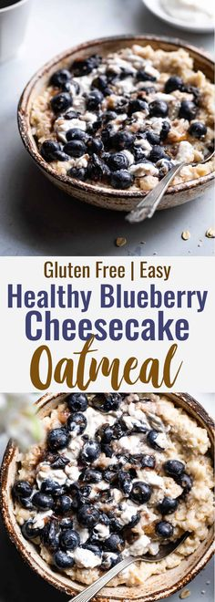 Blueberry Cheesecake Oatmeal - Thisquick and easy Blueberry Oatmeal with Cheesecake Swirlis a healthy, low fat and gluten free breakfast that tastes like waking up to cheesecake! Gluten Free Blueberry, Blueberry Recipes, Blueberry Cheesecake, Blueberry Ideas, Breakfast Cheesecake, Gluten Free Breakfasts, Healthy Breakfast Recipes, Healthy Oatmeal Breakfast, Healthy Oatmeal Recipes