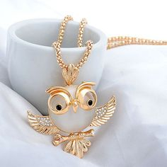 New Trendy Chubby Owl Fashion Rhinestone Crystal Jewelry Statement Women Chain Long Necklace KQS