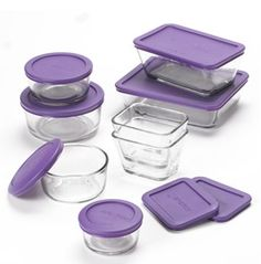 Anchor Hocking Food Storage Container Set started to buy these and recycled all the plastic containers. Stll keep yogurt containers etc so I can send food home with family members. Purple Home, Purple Kitchen Accessories, Baking Accessories, Gris Violet, All Things Purple, Purple Stuff, Storage Sets, Purple Reign, Food Storage Containers