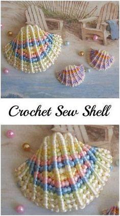 Mesmerizing Crochet an Amigurumi Rabbit Ideas. Lovely Crochet an Amigurumi Rabbit Ideas. Crochet Seashell Applique, Crochet Fish, Crochet Flower Patterns, Freeform Crochet, Crochet Home, Love Crochet, Crochet Motif, Crochet Crafts, Crochet Flowers