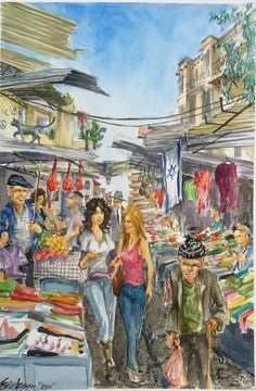"NYC, NY Street Artist   Painting in ISRAEL  Contemporary Lee Erickson Watercolour Painting  Title: ""The Market""  Edition: Tel Aviv Streets   Date: January 2012  Description: This is a painting from the Israel collection, Lee's most recent work of art. The scene is looking up towards Allenby #60 from the carmel market."