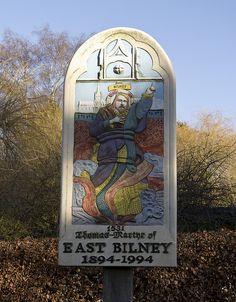 The village sign of East Bilney, Norfolk