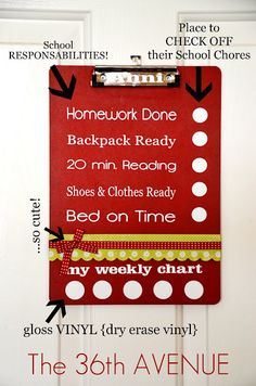 DIY chore chart clip boards. Love it! These would be adorable in my classroom, I am going to start collecting clip boards, one for each child!