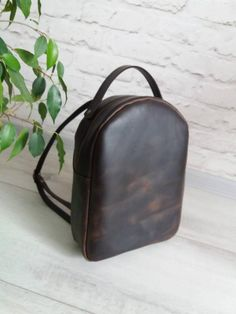 3a27bdab45 Brown Leather Backpack Women backpack leather Bag Chocolate backpack leather  for Women study backpac Leather Backpack